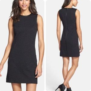 Vince camuto leather trim jacquard shift dress